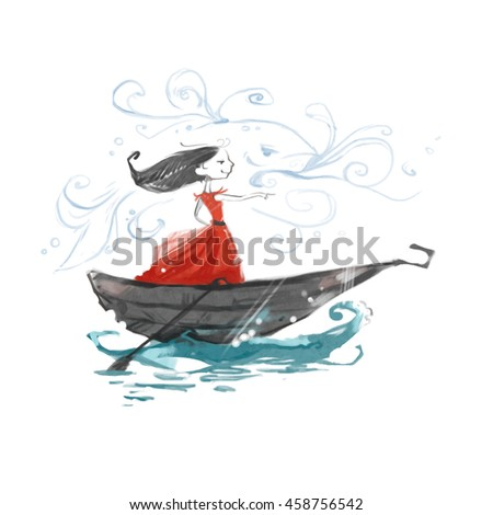 Woman in a red dress swimming in a boat. The girl points ahead. Sailing forward.