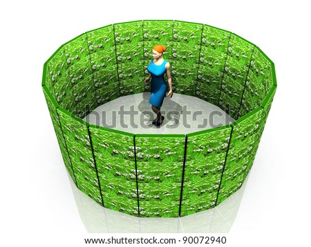 woman in a round green panels