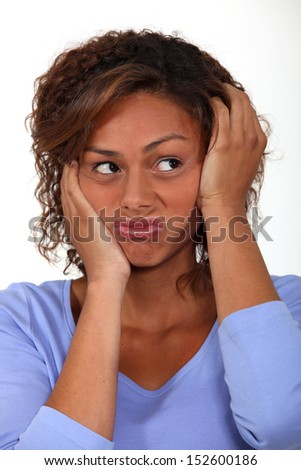 Woman in a rut - stock photo