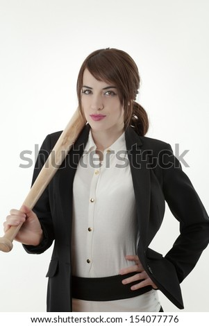 woman in a sharp business suit hold a baseball bat - stock photo