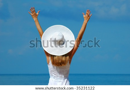 Woman in a white hat