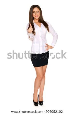 Woman White Shirt Narrow Black Skirt Stock Photo 204052102 ...