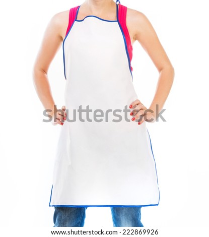 Woman in apron isolated on white - stock photo