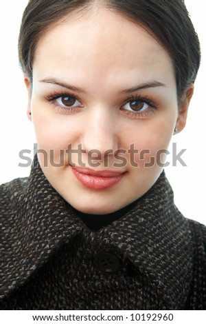 woman in autumn coat on white background