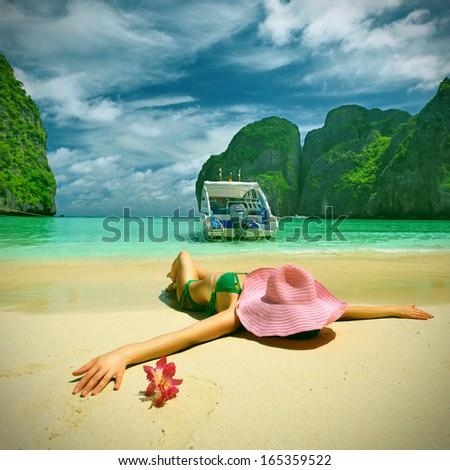 Woman in beautiful lagoon  - stock photo