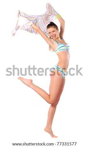 woman in bikini with pareos - stock photo