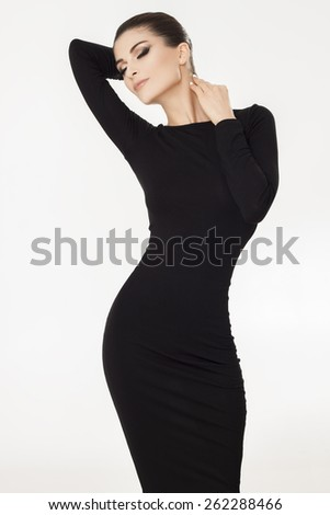 Woman in black dress - stock photo