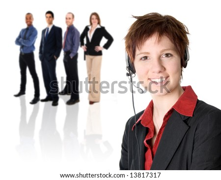 woman in black jacket with heaset on her head - stock photo