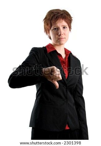 woman in black jacket with her thumb pointing down
