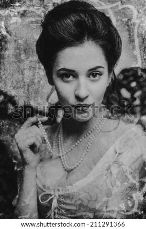Woman in Black & White. old vintage photo - stock photo
