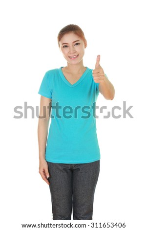 woman in blank t-shirt with thumbs up isolated on white background - stock photo