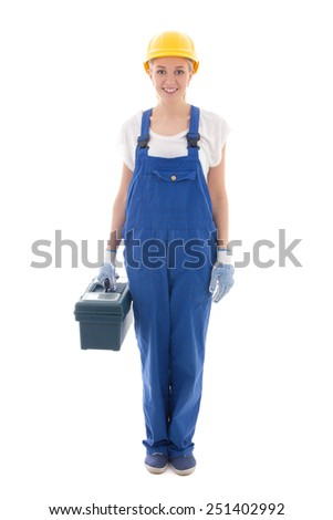 woman in blue builder uniform with toolbox isolated on white background - stock photo