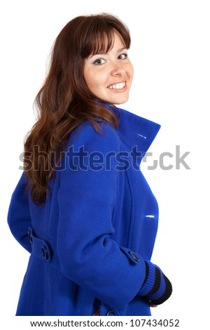 woman in blue coat on white background - stock photo