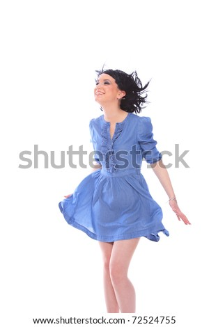Woman in blue dress over white background - stock photo
