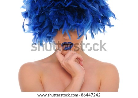 woman in blue feathers with closed eyes isolated on white - stock photo