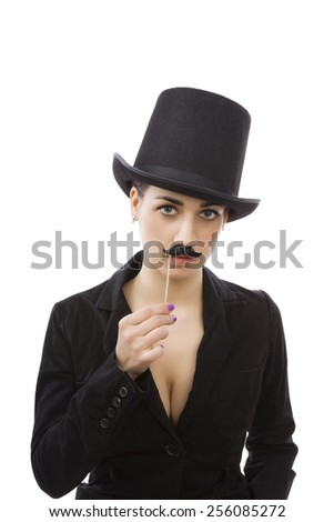 Woman in business. Beautiful young girl with cylinder hat, black dress and mustache isolated on white background. Female discrimination in workplace. - stock photo