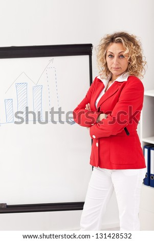 Woman in business outfit making a presentation at the flipchart - stock photo