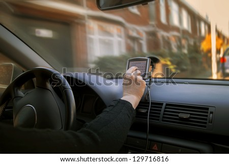 woman in car in the netherlands - stock photo