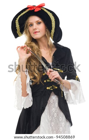 woman in carnival costume. Pirate woman  shape. Isolated image - stock photo