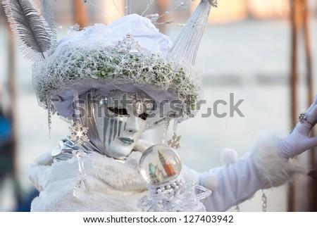 woman in carnival mask on Venice carnival - stock photo