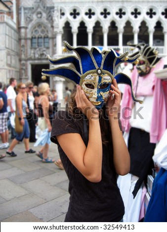 Woman in Carnival Mask, Venice - stock photo
