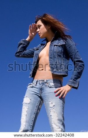Woman in casual blue jeans - stock photo