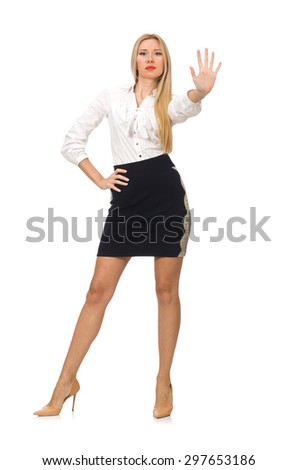 Woman in classic office clothing isolated on white - stock photo