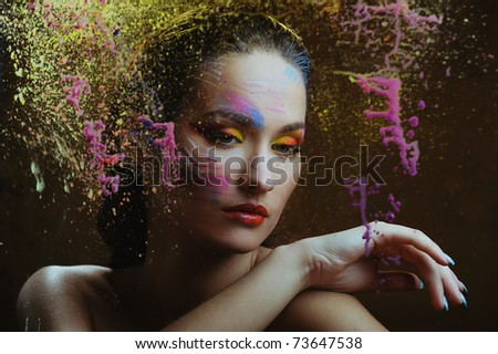 woman in color - stock photo