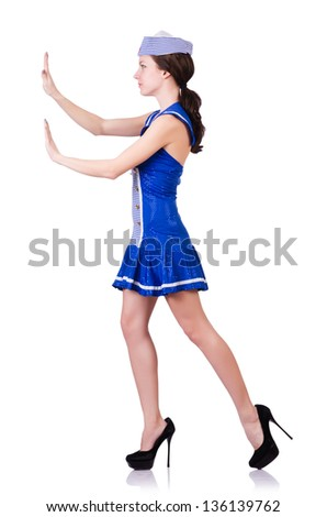 Woman in costume pushing virtual obstacle