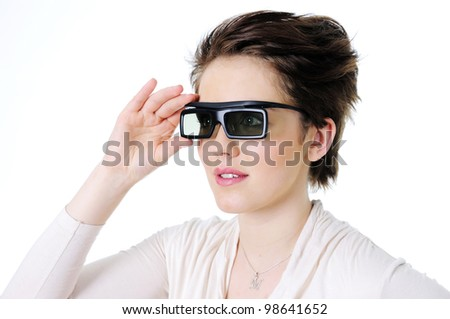 Woman in 3d glasses isolated on white - stock photo