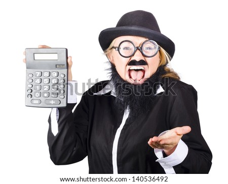 Woman in disguise wearing bowler hat, wide rimmed glasses fake mustache and beard shouting out loud and holding up gray electronic calculator - stock photo