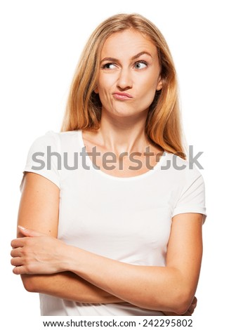Woman in doubt. Thinking female isolated on white - stock photo