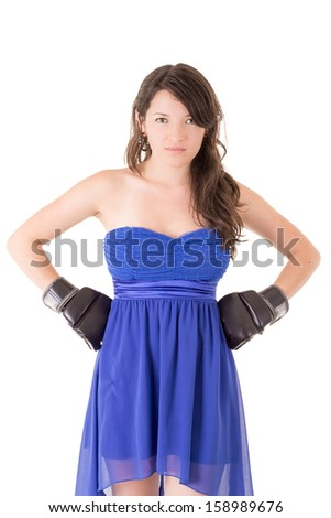 Woman in dress and boxing glove on white background, - stock photo