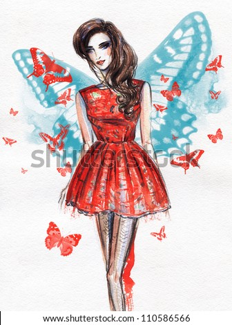 Woman in dress. Hand painted fashion illustration - stock photo