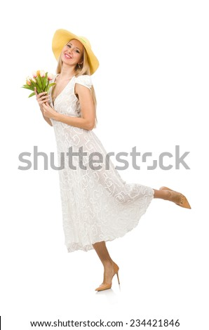Woman in dress in fashion dress isolated on white - stock photo