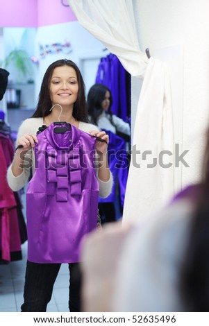 woman in dress room wear dress - stock photo