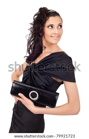 woman in elegant dress with purse, isolated on white background - stock photo