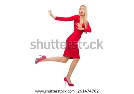 Woman in elegenat long red dress isolated on white - stock photo