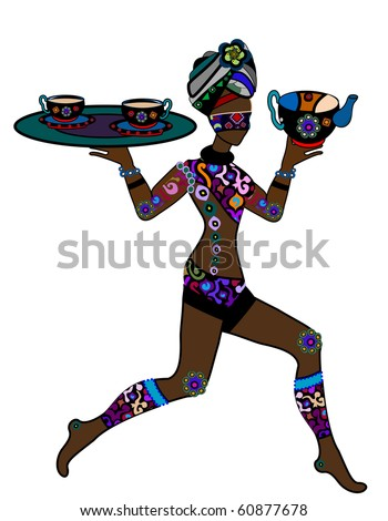 Woman in ethnic style is in the hands of Indian tea (Raster version) - stock photo