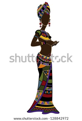 woman in ethnic style on a white background - stock photo