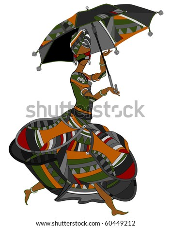 Woman in ethnic style on a white background (Raster version) - stock photo