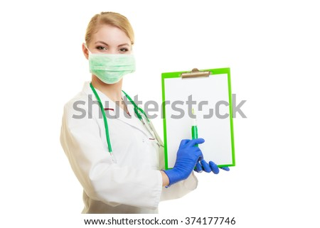 Woman in face surgical mask and white lab coat. Doctor or nurse with syringe isolated. Medical person for health insurance. - stock photo