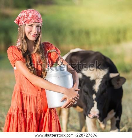 Woman in farm - stock photo