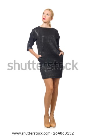 Woman in fashion concept isolated on white - stock photo