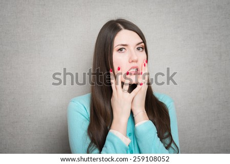 woman in fear and horror - stock photo