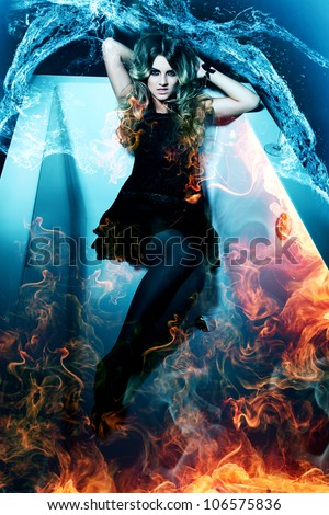 woman in fire bath and water