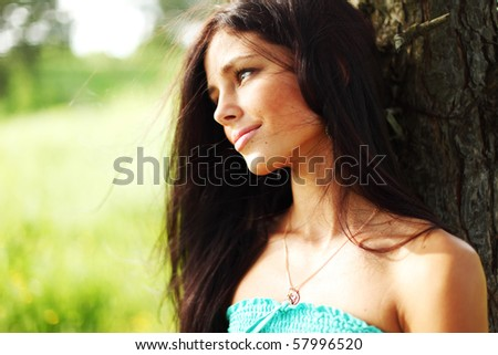 woman in forest - stock photo