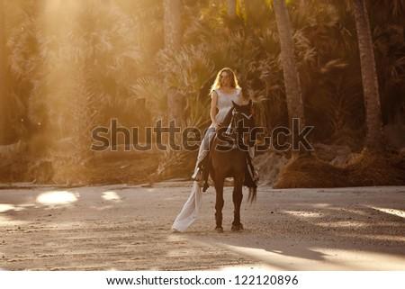 woman in formal dress on horse on the beach - stock photo