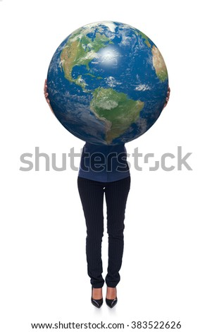 Woman in full length holding earth globe in her hands, American continent in front, over white background