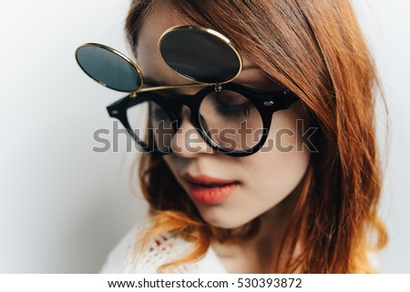 woman in funny glasses.